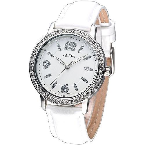 ALBA 極致氣質晶鑽時尚腕錶-白AG8277X1