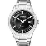 CITIZEN Eco-Drive 世紀都會時尚腕錶-黑/銀 AW1080-51E