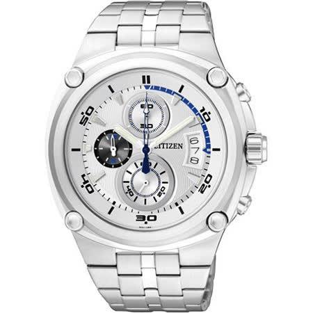 CITIZEN 天競爭霸三眼計時腕錶-銀 AN3450-50A