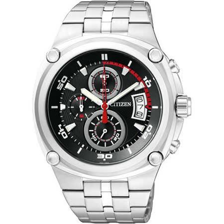 CITIZEN 天競爭霸三眼計時腕錶-黑/銀 AN3450-50E