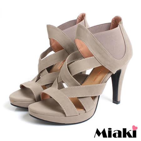 【Miaki】MIT 優雅名伶 高跟露趾羅馬涼鞋 (卡其)
