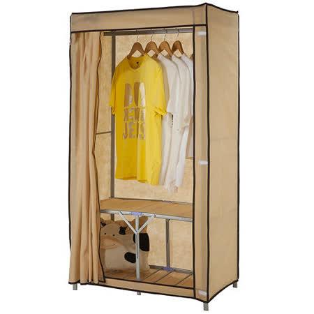 【免工具】專利品(80公分寬)攜帶型折疊式-鐵管吊衣櫥/吊衣架[附全蓋式防塵布套]-4色可選