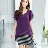 【公主衣櫃 中大尺碼】3020假二件式洋裝(紫色)預購