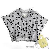 『摩達客』香港設計品牌精選手繪童話風HosannArt 音符蝙蝠袖連帽拉鍊外套 (附贈環保袋)