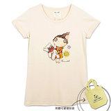 【摩達客】香港設計品牌精選手繪童話風HosannArt 抱小熊女孩米色摺袖印花短袖T恤(附贈環保袋)