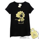 【摩達客】香港設計品牌精選手繪童話風HosannArt 花雨傘女孩黑色摺袖印花短袖T恤(附贈環保袋)