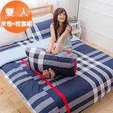 J‧bedtime【綺幻羅浮宮】雙人三件式精梳棉床包+枕套組