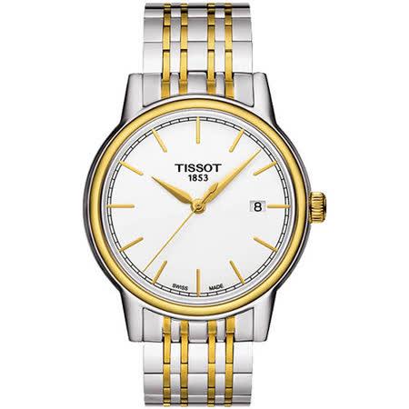 TISSOT Carson 經典石英腕錶-白/雙色版 T0854102201100