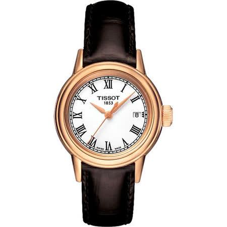 TISSOT T-Classic Carson 羅馬石英女錶-白/咖啡 T0852103601300