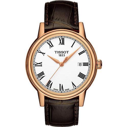 TISSOT T-Classic Carson 羅馬石英腕錶-白/咖啡 T0854103601300