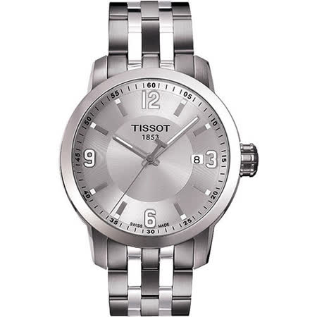TISSOT PRC200 系列都會石英腕錶-銀 T0554101103700