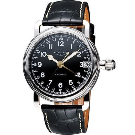 LONGINES Heritage Military 1938軍用24小時機械腕錶-黑 L27784532