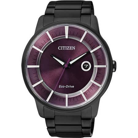 CITIZEN Eco-Drive 躍動世界時尚腕錶-紫/IP黑 AW1264-59W