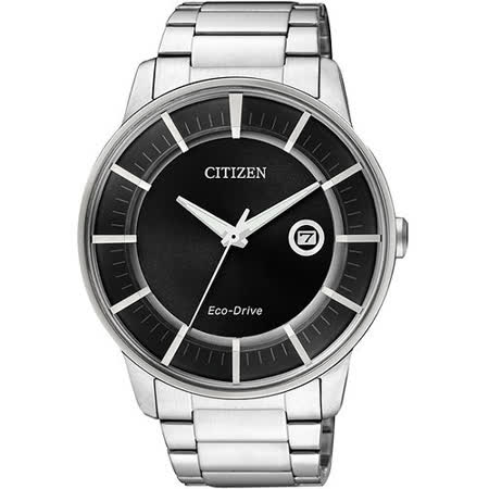 CITIZEN Eco-Drive 躍動世界時尚腕錶-黑/銀 AW1260-50E