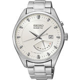 SEIKO Kinetic 日曆時尚人動電能腕錶-銀 5M84-0AB0S
