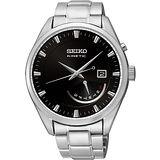 SEIKO Kinetic 日曆時尚人動電能腕錶-黑/銀 5M84-0AB0D