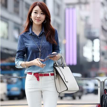 【韓系女衫】秋裝薄款水洗牛仔襯衫