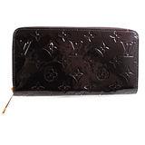 Louis Vuitton VERNIS M93522 全漆皮多LOGO壓紋拉鍊長夾.紫紅_預購