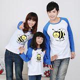 韓版YI-X02《可愛小蜜蜂-藍袖》長袖親子裝@三件組【預購款】