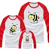 韓版YI-X02《可愛小蜜蜂-紅袖》長袖親子裝@四件組【預購款】