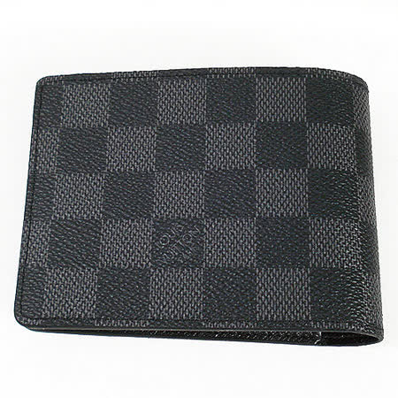 Louis Vuitton N62663 黑棋盤格MULTIPLE雙折簡約短夾(黑灰)_預購