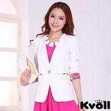 【KVOLL中大尺碼】白色單粒扣印花袖西裝外套