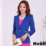 【KVOLL中大尺碼】藍色單粒扣印花袖西裝外套