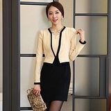 【韓系女衫】OL時尚假兩件修身撞色外套連衣裙