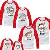 韓版YI-X03《三代同堂趣-紅袖》長袖親子裝@四件組【預購款】