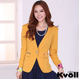 【KVOLL中大尺碼】黃色單粒扣印花袖西裝外套