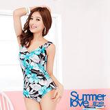 【SUMMERLOVE 夏之戀】熱帶印花連身三角泳衣E13703-3L