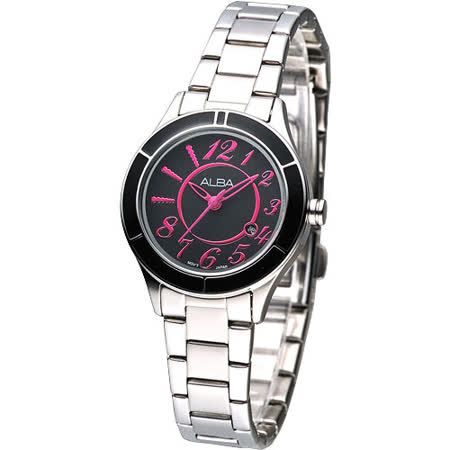 ALBA 時尚元素絢麗女腕錶-黑 /桃紅刻 AH7579X1