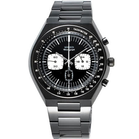 SEIKO WIRED Tomoki Models 都會三眼計時腕錶-IP黑 7T11-X006SD