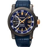 SEIKO Kinetic 互動式人動電能時尚腕錶-藍 5D22-0AD0B