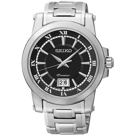 SEIKO Premier 羅馬主義大視窗時尚腕錶-黑/銀 6N76-00B0D