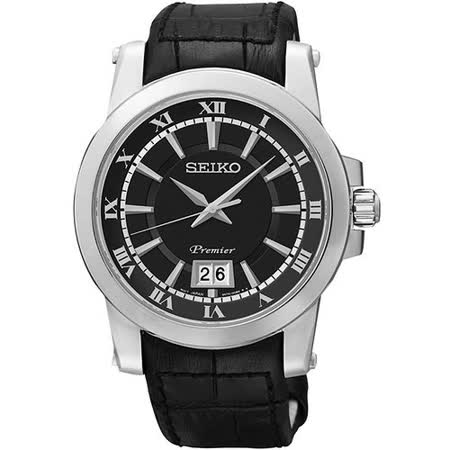 SEIKO Premier 羅馬主義大視窗時尚腕錶-黑 6N76-00B0A