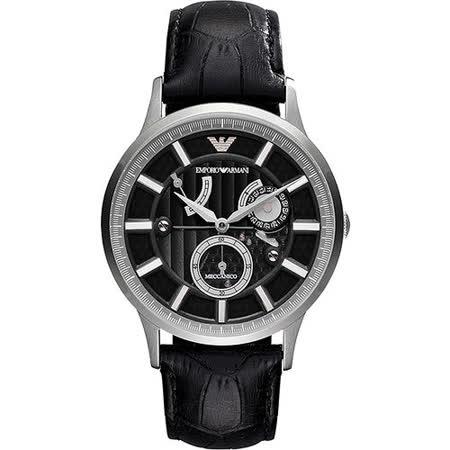 ARMANI Meccanico 雅爵動能儲存機械腕錶-黑 AR4659