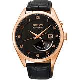 SEIKO Kinetic 日曆時尚人動電能腕錶-黑X玫塊金 5M84-0AC0D
