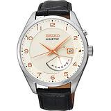SEIKO Kinetic 日曆時尚人動電能腕錶-白/黑 5M84-0AC0S