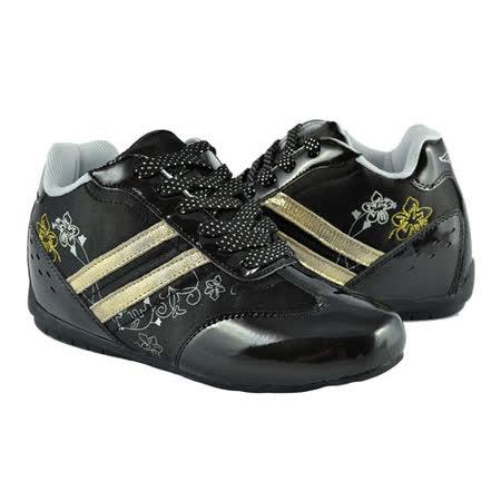 【T2R】刺繡印花隱形氣墊增高鞋 黑 ↑7cm 5600-0046