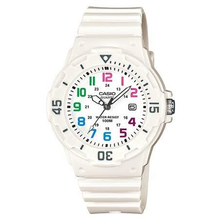 CASIO 魅力潛水風格型女腕錶(白面/彩色數字刻度) LRW-200H-7B