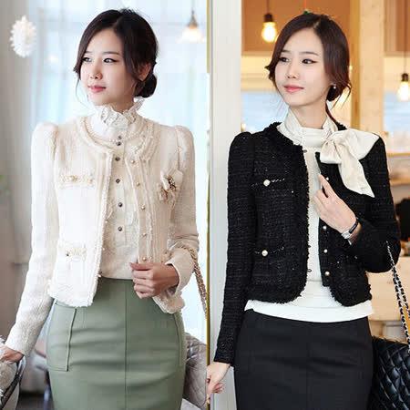 【韓系女衫】秋冬新款粗花呢修身短外套