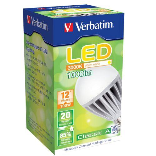 Verbatim LED 傳統球泡 E27 12W 100-240V 暖白光(64357) (八入)