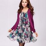 【麗質達人中大碼】2153雪紡印花假二件連衣裙(紫色)