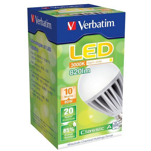 Verbatim LED 傳統球泡 E27 10W 100-240V 暖白光(64188) (八入)