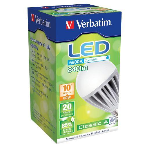Verbatim 10W 840lm LED 傳統球泡 E27 100-240V 冷白光(64189) (八入)