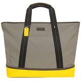 COACH  帆布拼接皮革梯形托特購物包(灰黃)