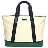 COACH  帆布拼接皮革梯形托特購物包(米綠)