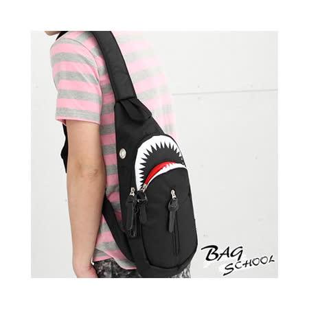DF BAGSCHOOL - 鯊魚俠造型個性款直立式單肩斜背包