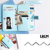 【韓國原裝潮牌 LKUN】Samsung Note2 N7100 專用保護皮套 100%高級牛皮皮套㊣ 多功能多用途手機皮套&錢包完美結合 (天藍)